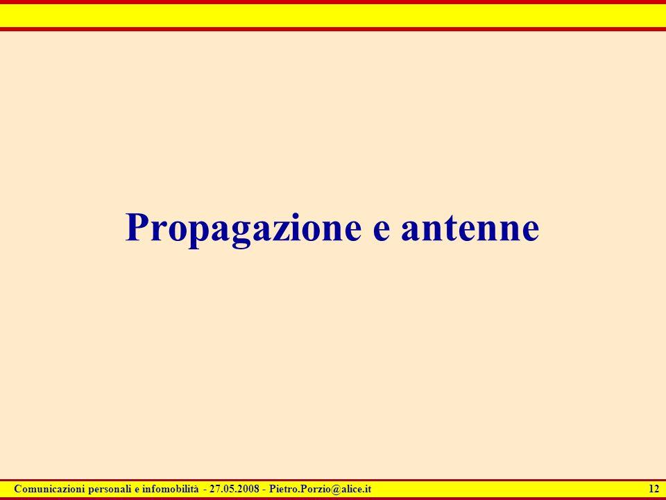 12 Comunicazioni personali e infomobilità - 27.05.2008 - Pietro.Porzio@alice.it Propagazione e antenne