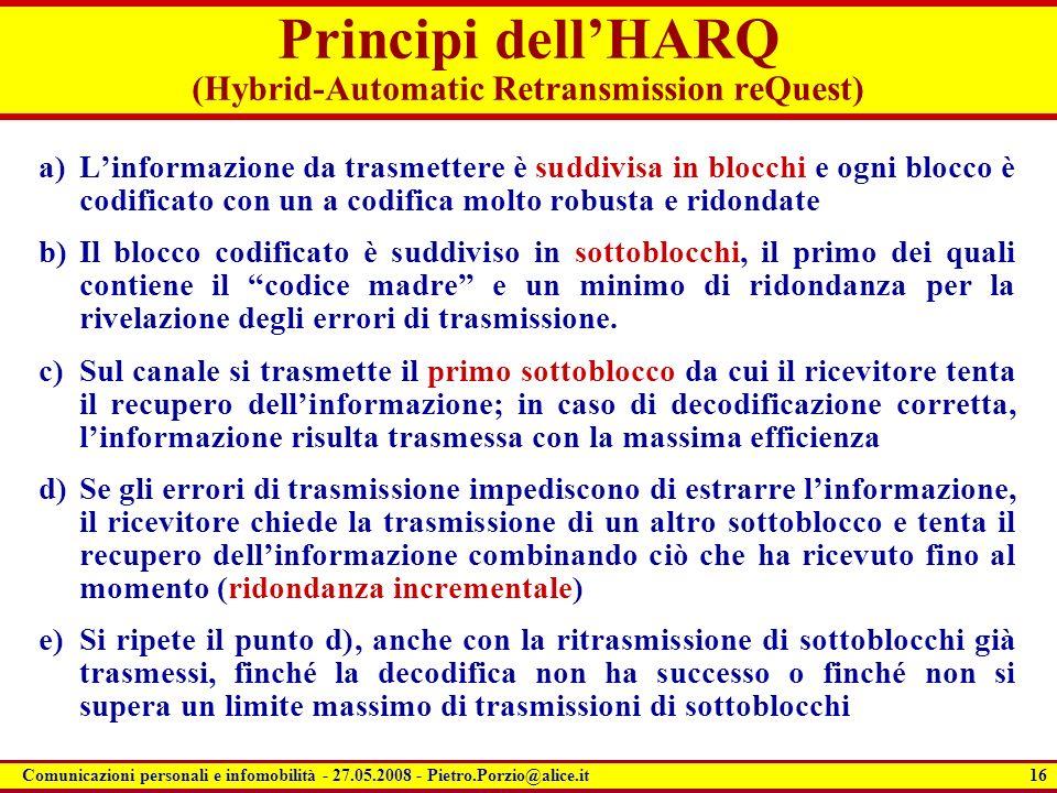 16 Comunicazioni personali e infomobilità - 27.05.2008 - Pietro.Porzio@alice.it Principi dellHARQ (Hybrid-Automatic Retransmission reQuest) a)Linforma