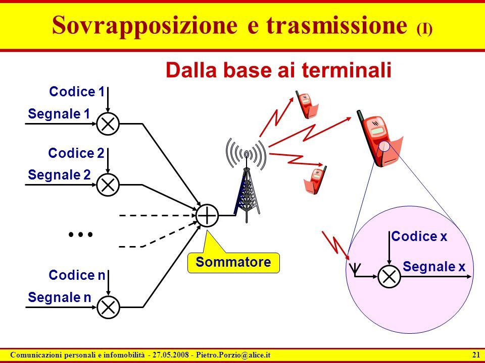 21 Comunicazioni personali e infomobilità - 27.05.2008 - Pietro.Porzio@alice.it Sovrapposizione e trasmissione (I) Segnale n Codice n Segnale 1 Codice