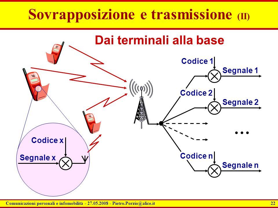 22 Comunicazioni personali e infomobilità - 27.05.2008 - Pietro.Porzio@alice.it Sovrapposizione e trasmissione (II) Segnale x Codice x Dai terminali a