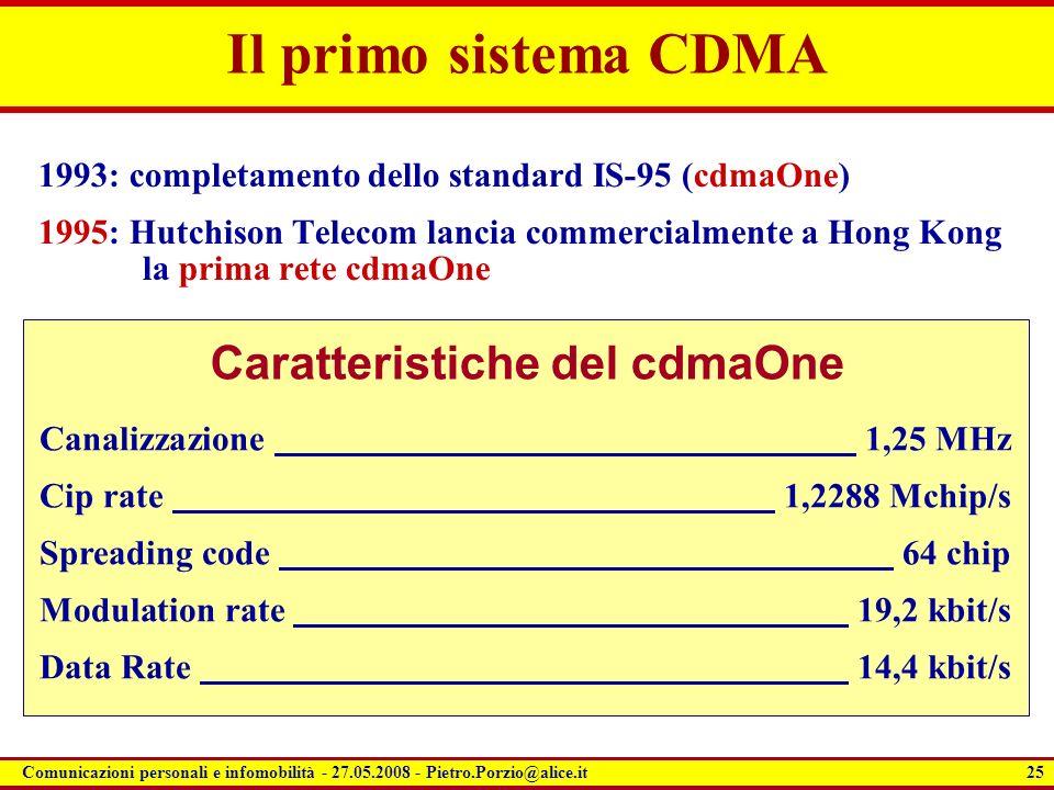 25 Comunicazioni personali e infomobilità - 27.05.2008 - Pietro.Porzio@alice.it Il primo sistema CDMA 1993: completamento dello standard IS-95 (cdmaOn