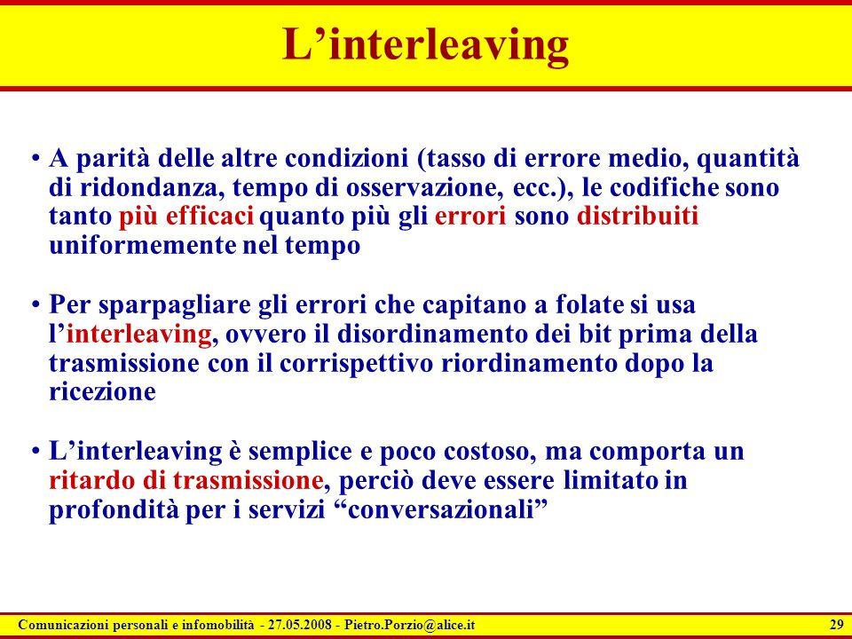 29 Comunicazioni personali e infomobilità - 27.05.2008 - Pietro.Porzio@alice.it Linterleaving A parità delle altre condizioni (tasso di errore medio,
