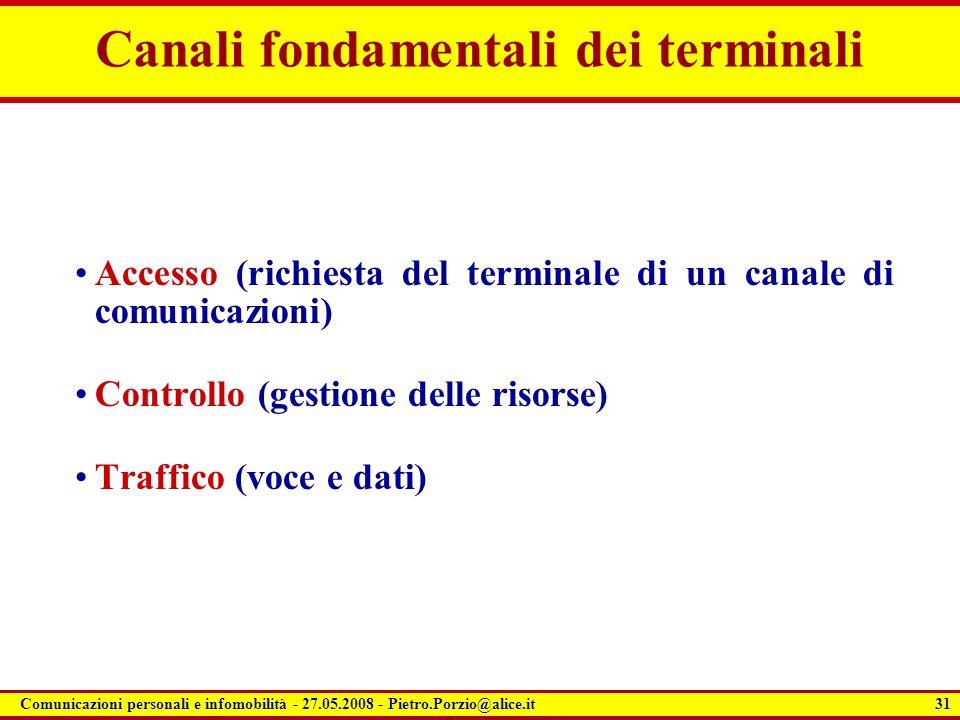 31 Comunicazioni personali e infomobilità - 27.05.2008 - Pietro.Porzio@alice.it Canali fondamentali dei terminali Accesso (richiesta del terminale di