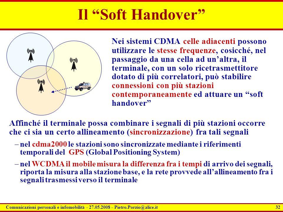 32 Comunicazioni personali e infomobilità - 27.05.2008 - Pietro.Porzio@alice.it Il Soft Handover Nei sistemi CDMA celle adiacenti possono utilizzare l