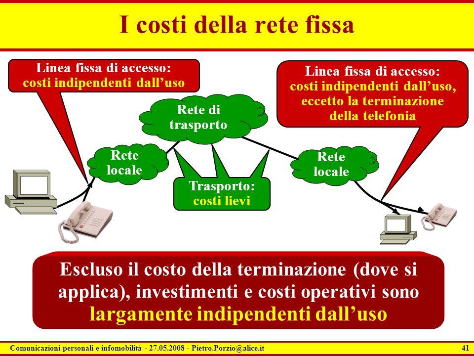 41 Comunicazioni personali e infomobilità - 27.05.2008 - Pietro.Porzio@alice.it Escluso il costo della terminazione (dove si applica), investimenti e