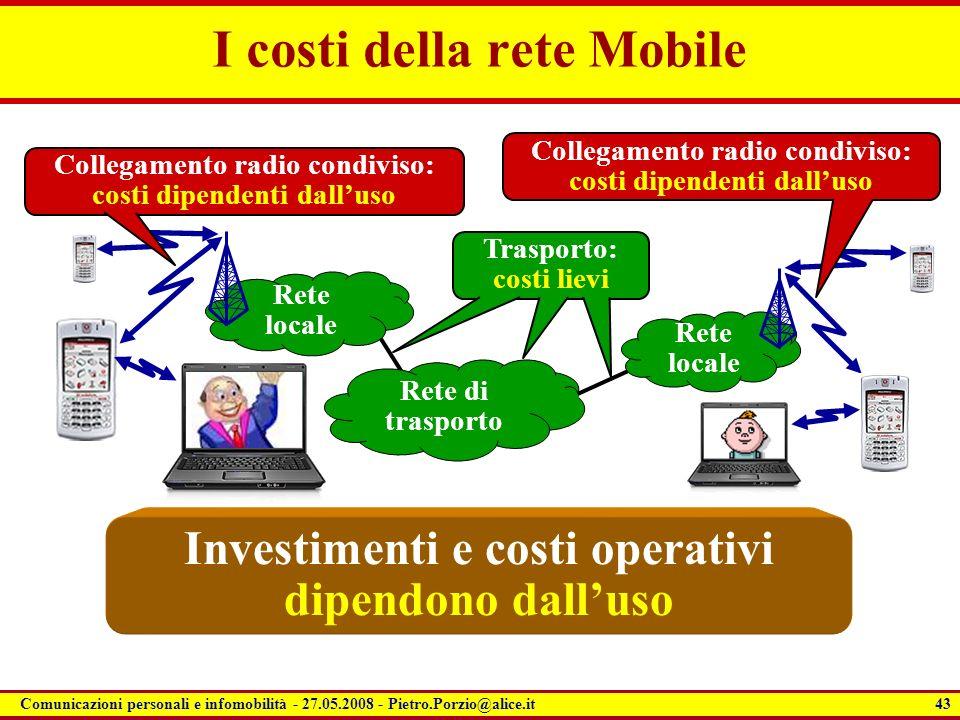 43 Comunicazioni personali e infomobilità - 27.05.2008 - Pietro.Porzio@alice.it I costi della rete Mobile Rete locale Collegamento radio condiviso: co