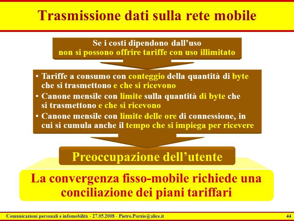 44 Comunicazioni personali e infomobilità - 27.05.2008 - Pietro.Porzio@alice.it La convergenza fisso-mobile richiede una conciliazione dei piani tarif