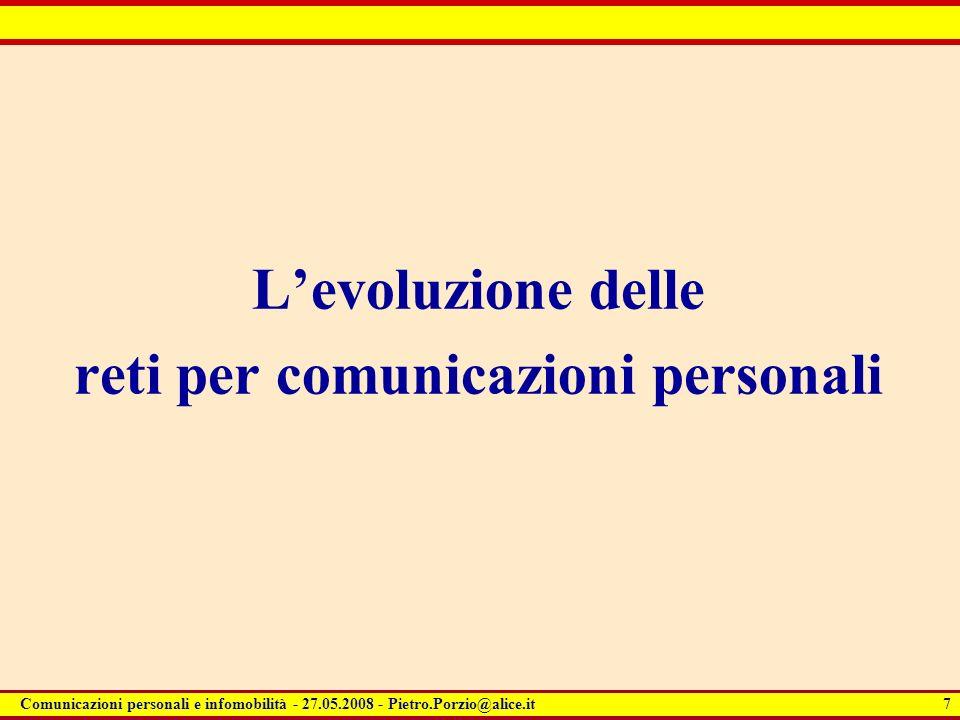 7 Comunicazioni personali e infomobilità - 27.05.2008 - Pietro.Porzio@alice.it Levoluzione delle reti per comunicazioni personali