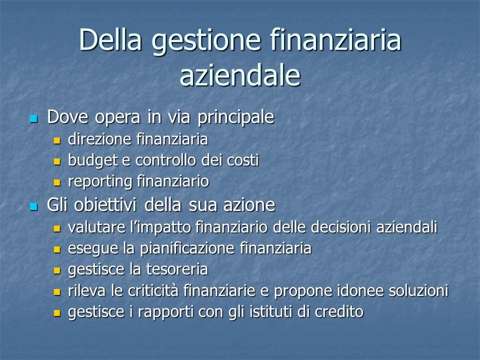 Della gestione finanziaria aziendale Dove opera in via principale Dove opera in via principale direzione finanziaria direzione finanziaria budget e co