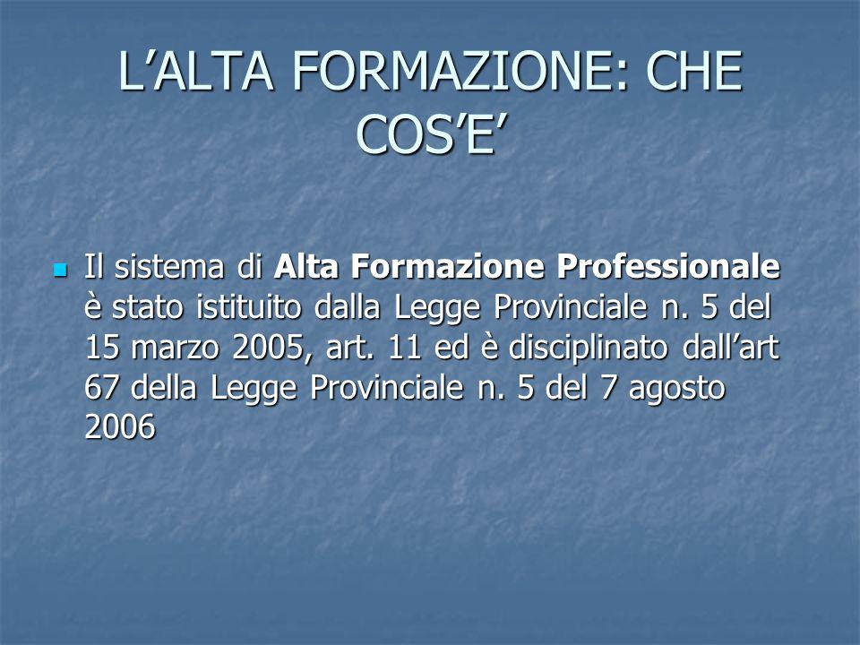 LALTA FORMAZIONE: CHE COSE Il sistema di Alta Formazione Professionale è stato istituito dalla Legge Provinciale n. 5 del 15 marzo 2005, art. 11 ed è