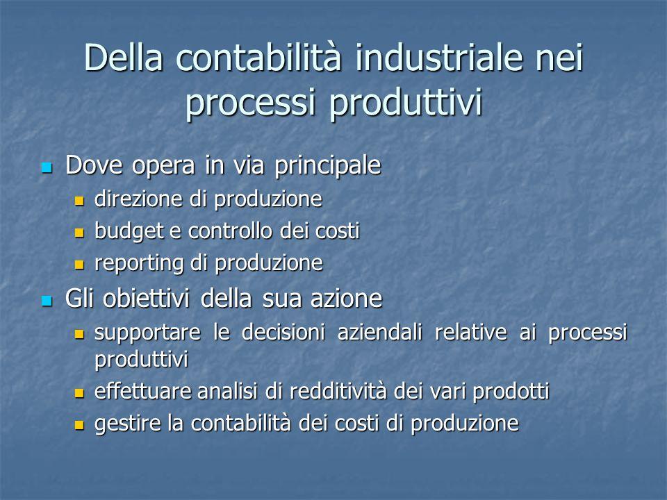 Della contabilità industriale nei processi produttivi Dove opera in via principale Dove opera in via principale direzione di produzione direzione di p