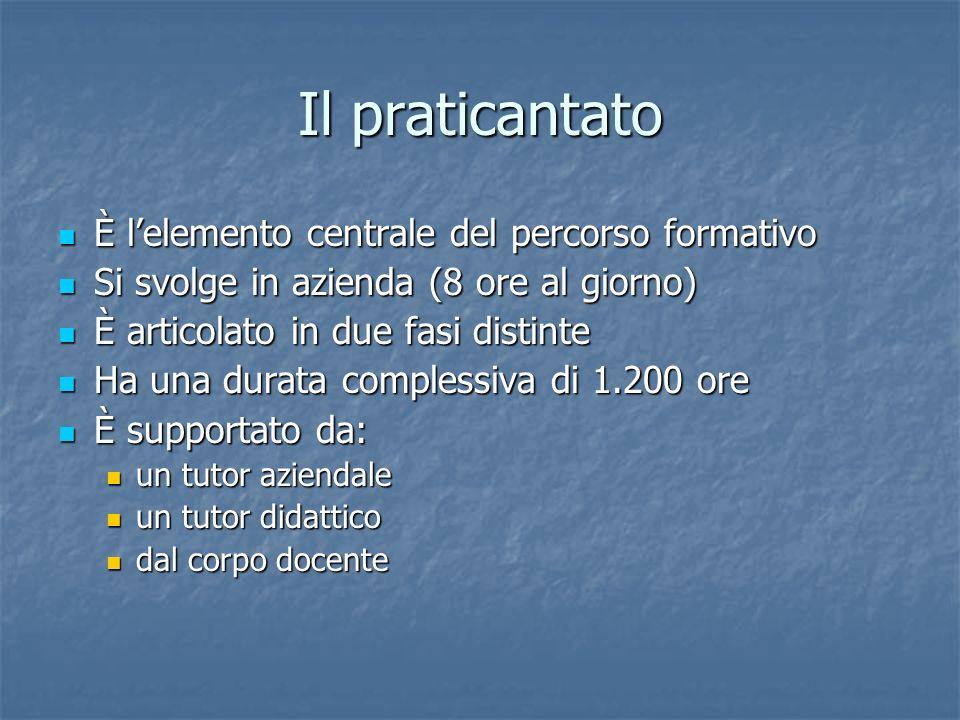 Il praticantato È lelemento centrale del percorso formativo È lelemento centrale del percorso formativo Si svolge in azienda (8 ore al giorno) Si svol