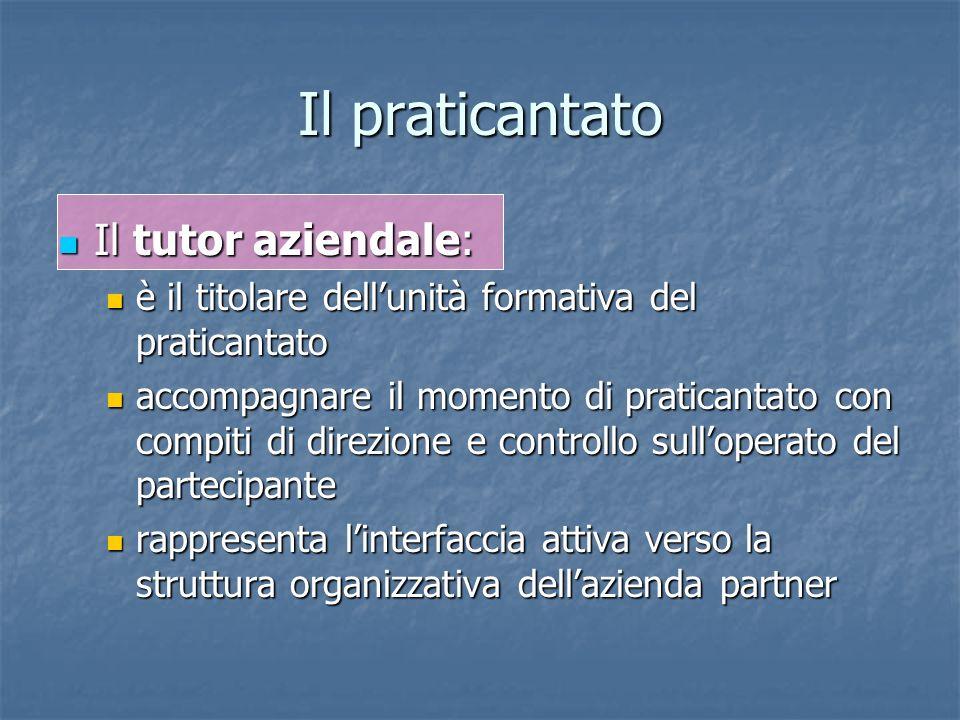 Il praticantato Il tutor aziendale: Il tutor aziendale: è il titolare dellunità formativa del praticantato è il titolare dellunità formativa del prati