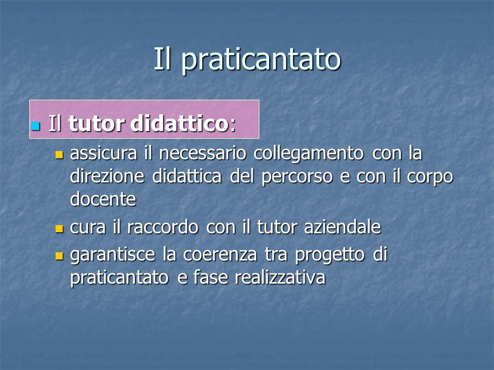 Il praticantato Il tutor didattico: Il tutor didattico: assicura il necessario collegamento con la direzione didattica del percorso e con il corpo doc