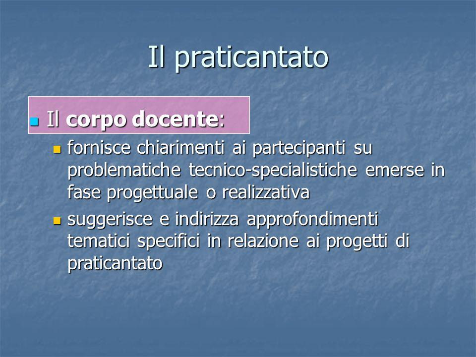 Il praticantato Il corpo docente: Il corpo docente: fornisce chiarimenti ai partecipanti su problematiche tecnico-specialistiche emerse in fase proget