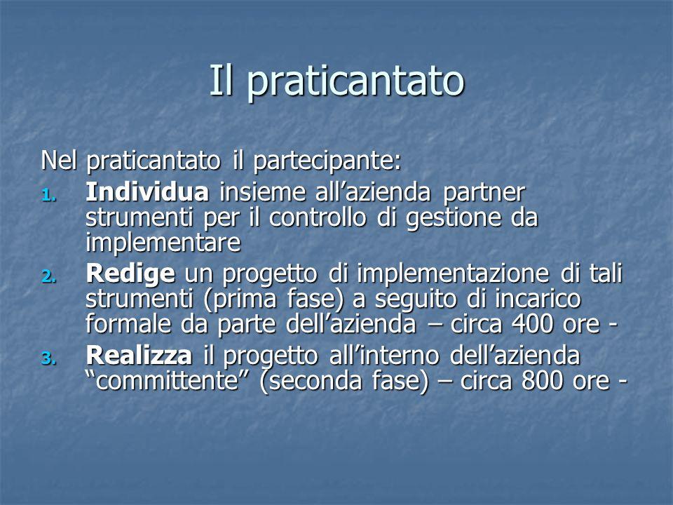 Il praticantato Nel praticantato il partecipante: 1. Individua insieme allazienda partner strumenti per il controllo di gestione da implementare 2. Re
