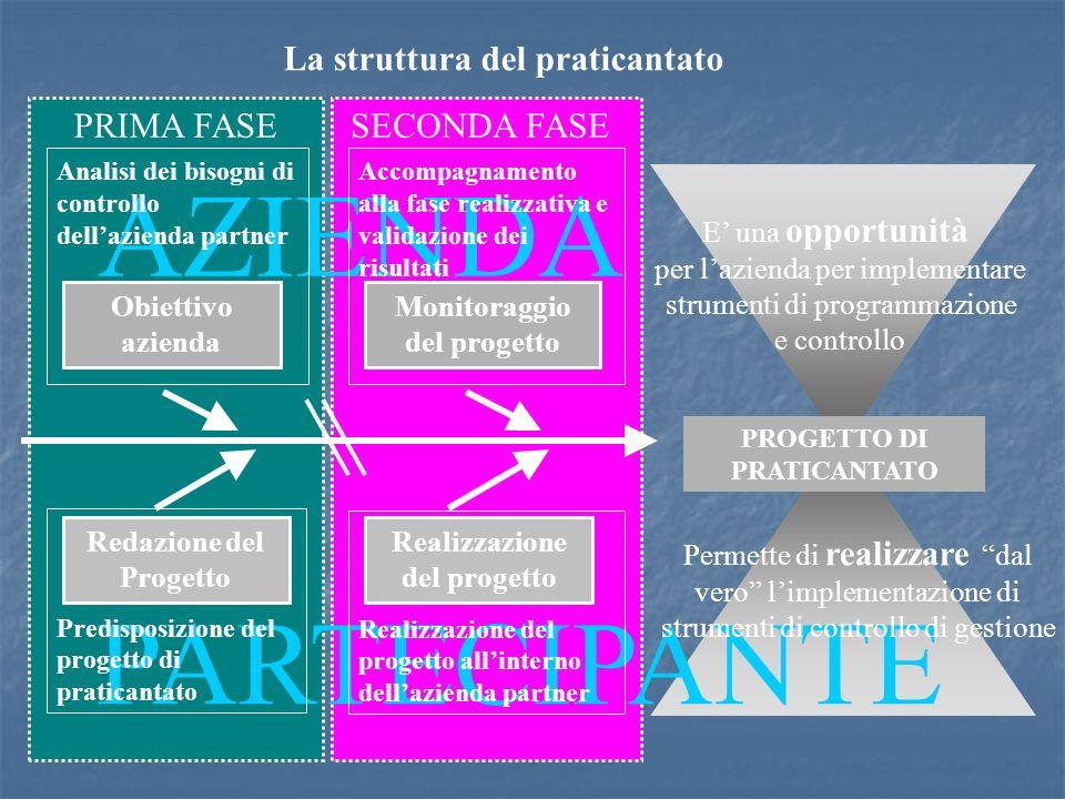 PARTECIPANTE AZIENDA La struttura del praticantato Analisi dei bisogni di controllo dellazienda partner Accompagnamento alla fase realizzativa e valid