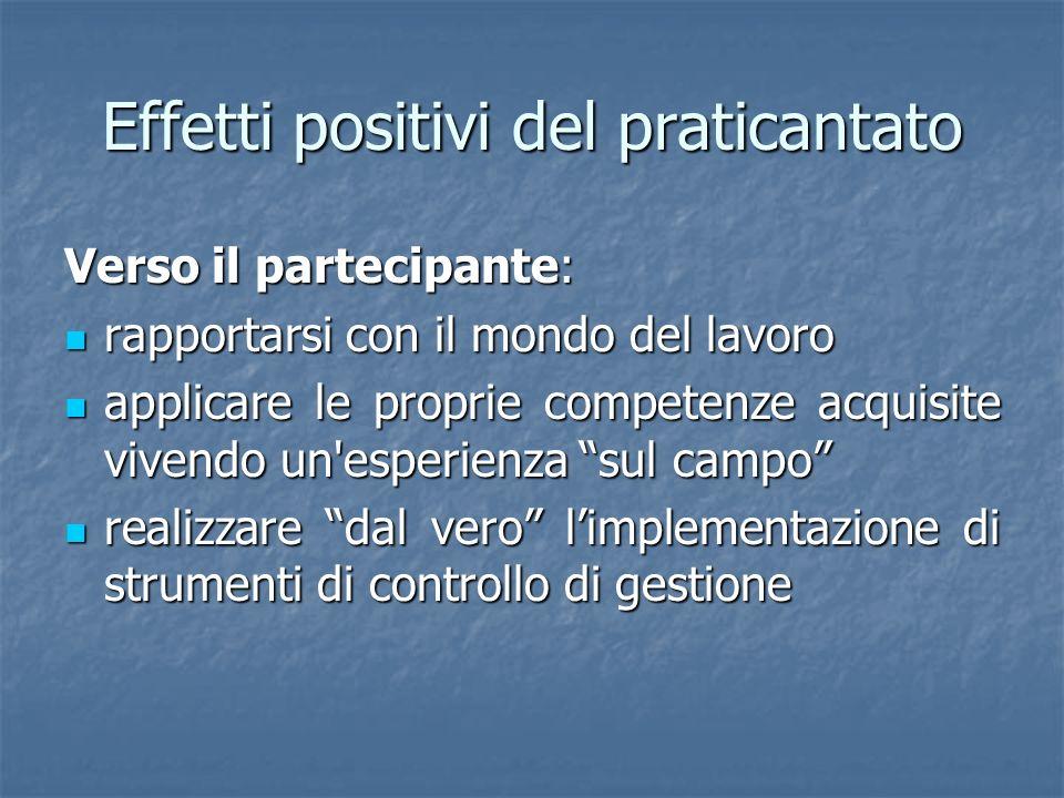 Effetti positivi del praticantato Verso il partecipante: rapportarsi con il mondo del lavoro rapportarsi con il mondo del lavoro applicare le proprie