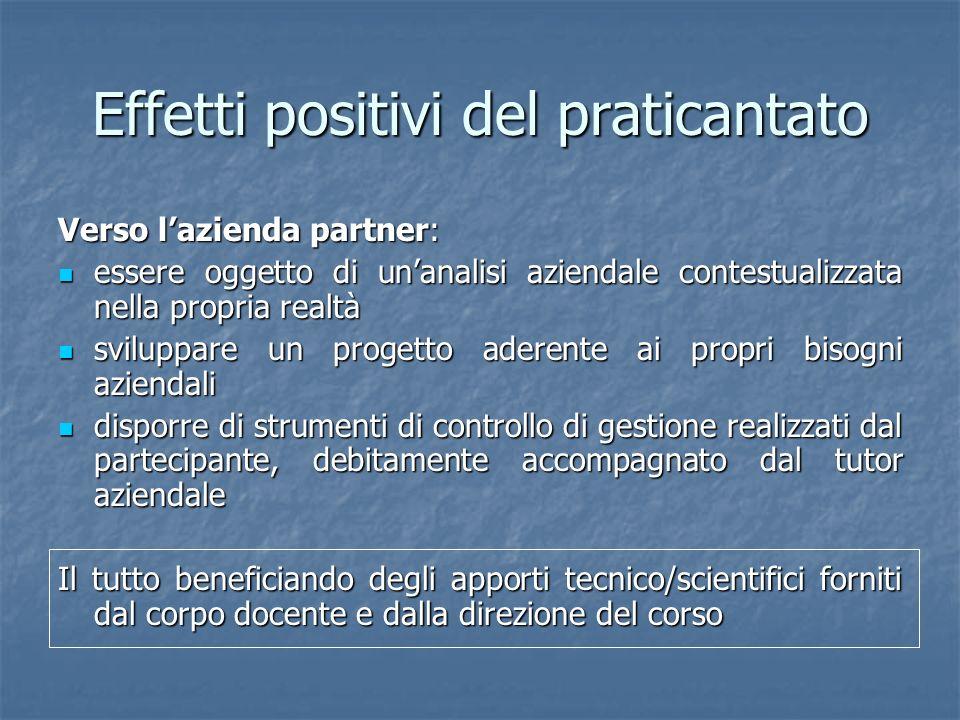 Effetti positivi del praticantato Verso lazienda partner: essere oggetto di unanalisi aziendale contestualizzata nella propria realtà essere oggetto d