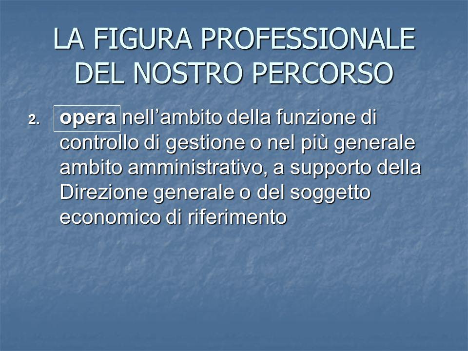 LA FIGURA PROFESSIONALE DEL NOSTRO PERCORSO 2. opera nellambito della funzione di controllo di gestione o nel più generale ambito amministrativo, a su