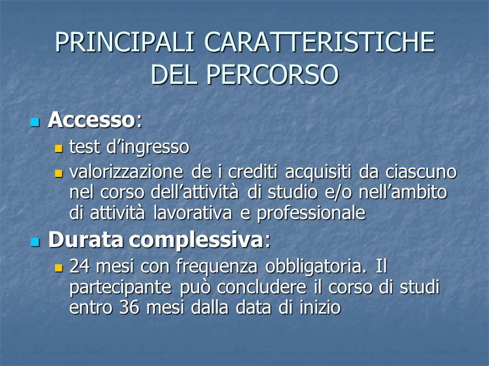 PRINCIPALI CARATTERISTICHE DEL PERCORSO Accesso: Accesso: test dingresso test dingresso valorizzazione de i crediti acquisiti da ciascuno nel corso de
