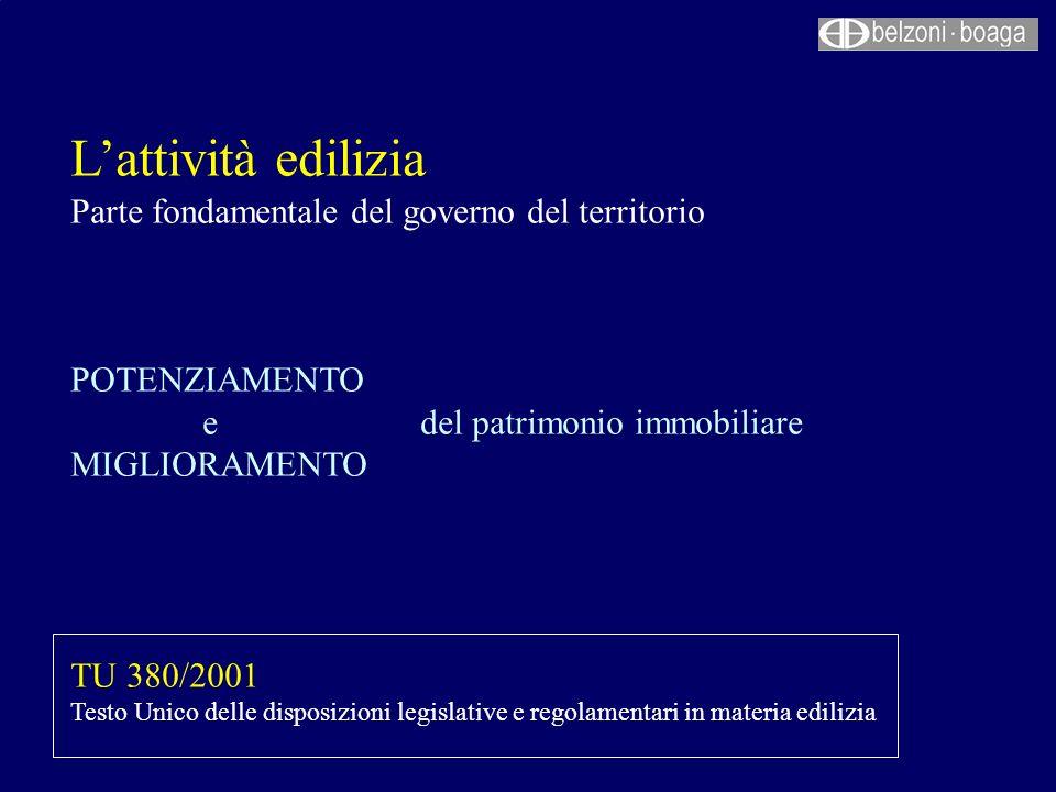 Lattività edilizia Parte fondamentale del governo del territorio POTENZIAMENTO e del patrimonio immobiliare MIGLIORAMENTO TU 380/2001 Testo Unico dell