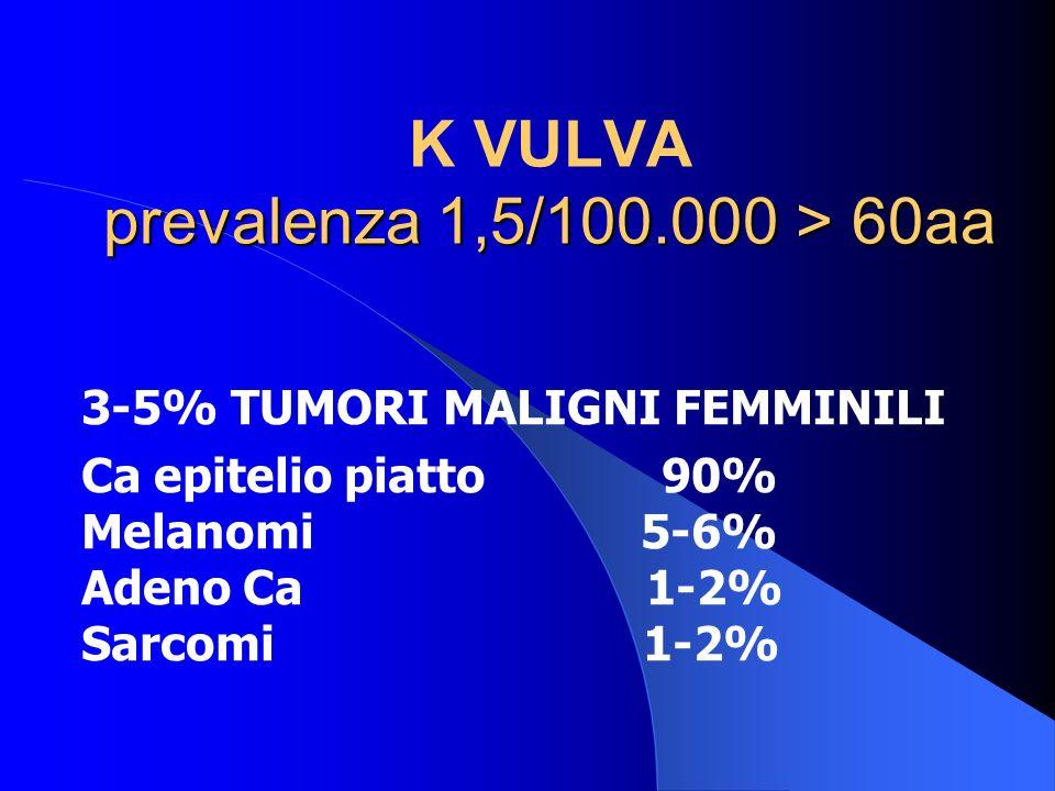 prevalenza 1,5/100.000 > 60aa K VULVA prevalenza 1,5/100.000 > 60aa 3-5% TUMORI MALIGNI FEMMINILI Ca epitelio piatto 90% Melanomi 5-6% Adeno Ca 1-2% S