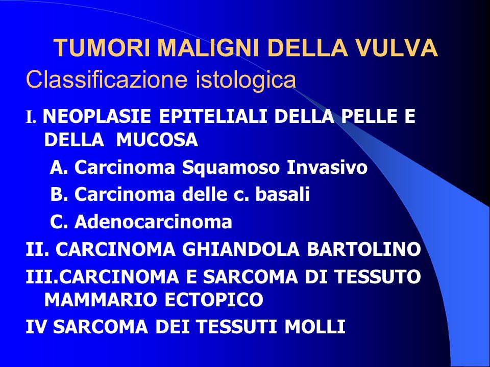 TUMORI MALIGNI DELLA VULVA I. NEOPLASIE EPITELIALI DELLA PELLE E DELLA MUCOSA A. Carcinoma Squamoso Invasivo B. Carcinoma delle c. basali C. Adenocarc
