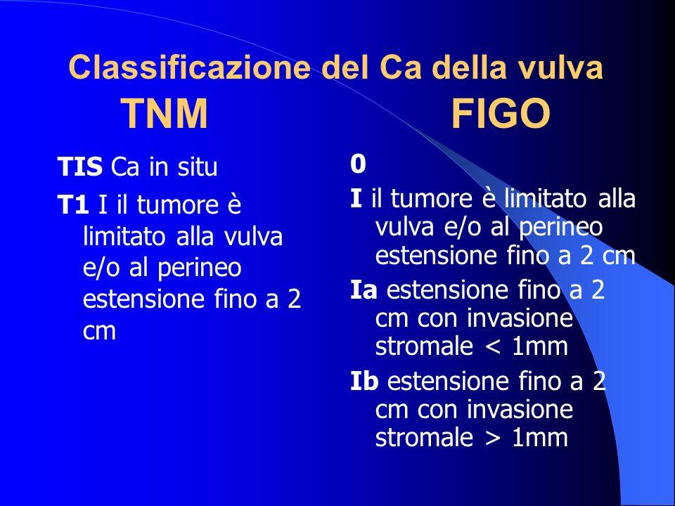 Classificazione del Ca della vulva TNM FIGO TIS Ca in situ T1 I il tumore è limitato alla vulva e/o al perineo estensione fino a 2 cm 0 I il tumore è