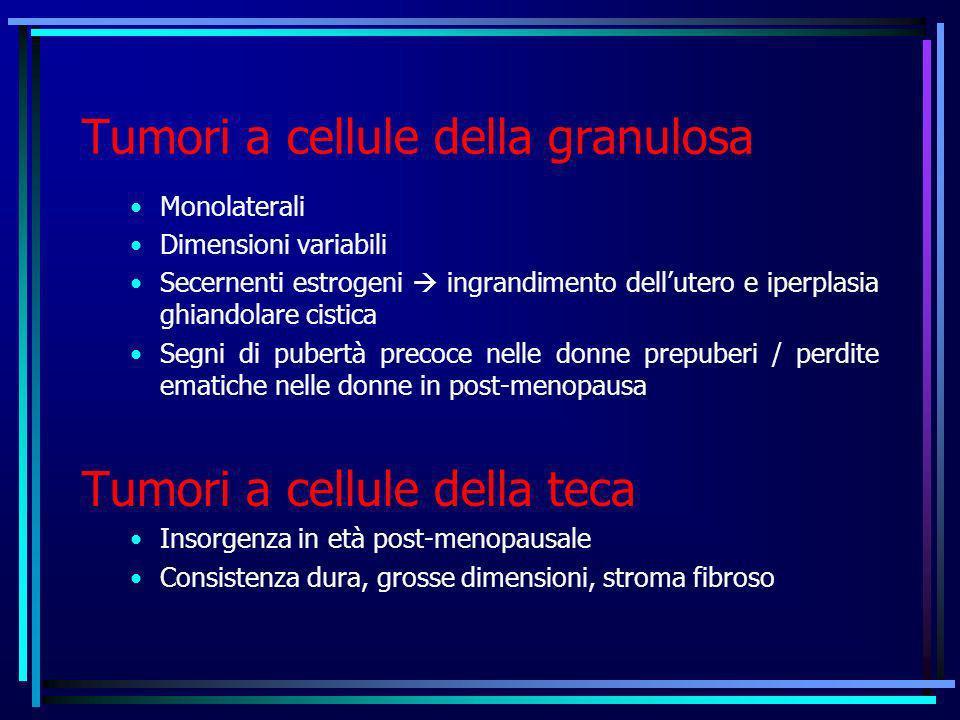 Tumori a cellule della granulosa Monolaterali Dimensioni variabili Secernenti estrogeni ingrandimento dellutero e iperplasia ghiandolare cistica Segni