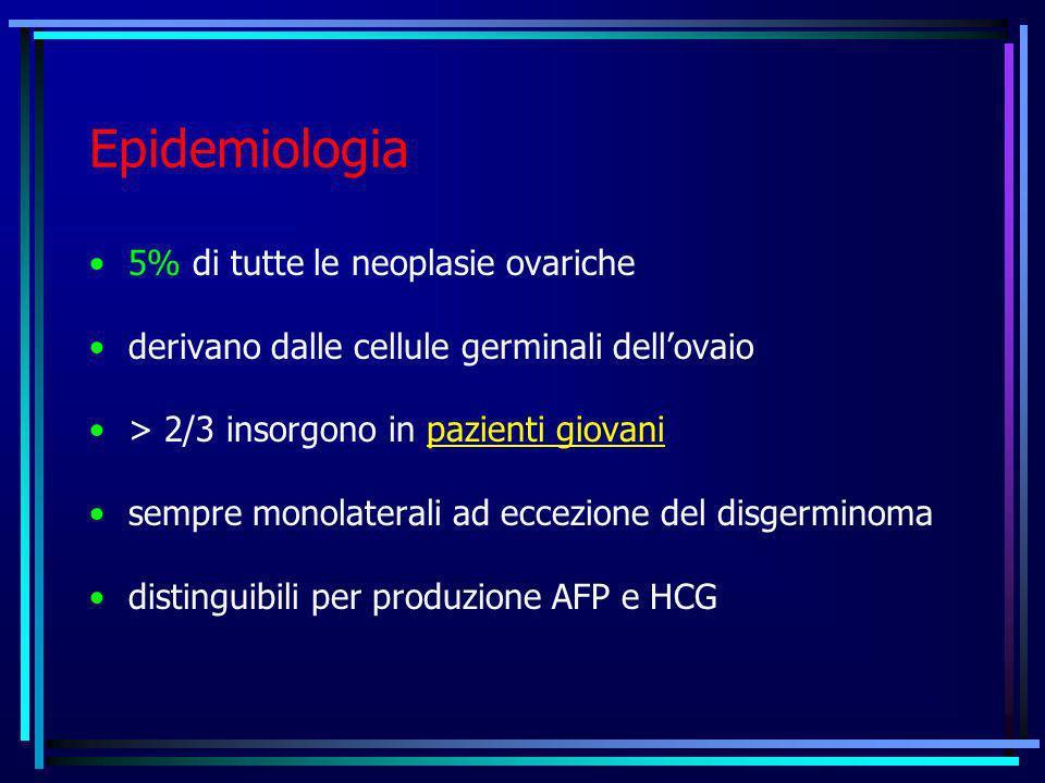 Epidemiologia 5% di tutte le neoplasie ovariche derivano dalle cellule germinali dellovaio > 2/3 insorgono in pazienti giovani sempre monolaterali ad