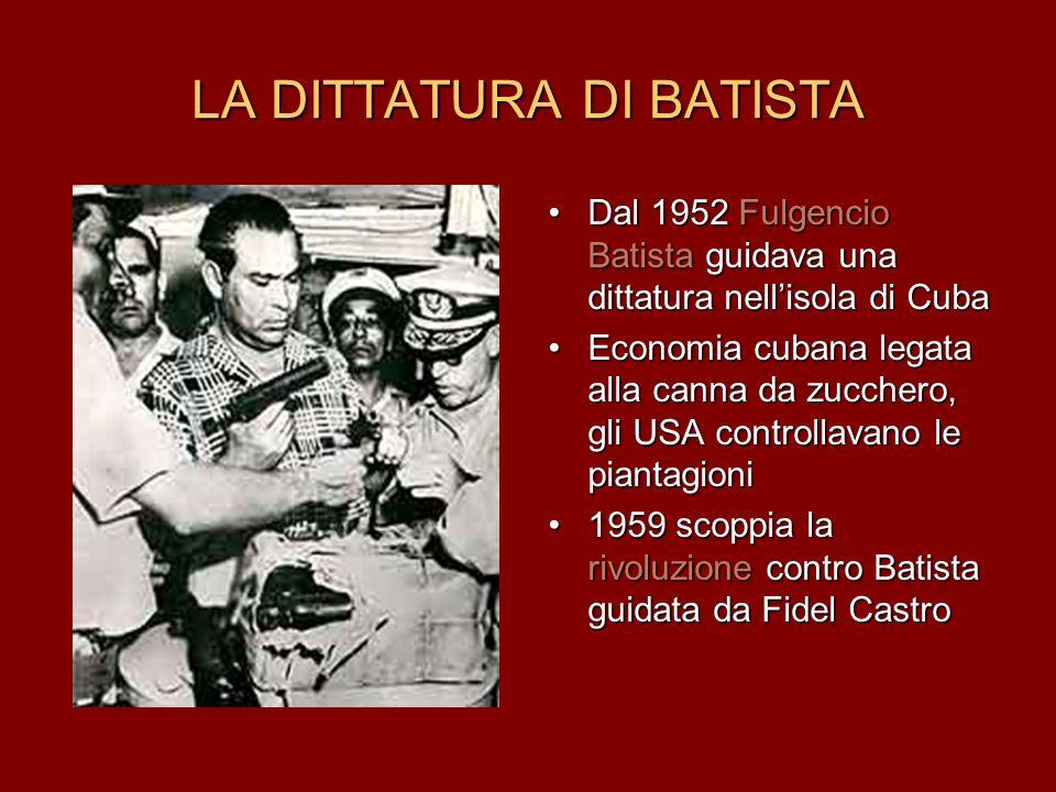 LA DITTATURA DI BATISTA Dal 1952 Fulgencio Batista guidava una dittatura nellisola di Cuba Economia cubana legata alla canna da zucchero, gli USA cont