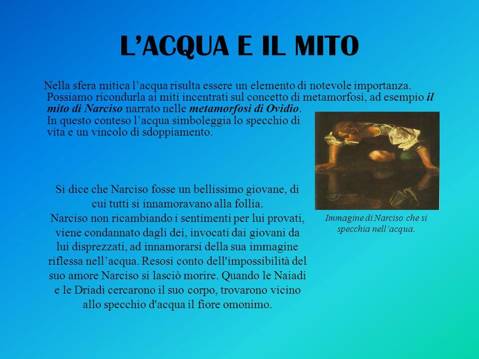 LACQUA E IL MITO Nella sfera mitica lacqua risulta essere un elemento di notevole importanza. Possiamo ricondurla ai miti incentrati sul concetto di m