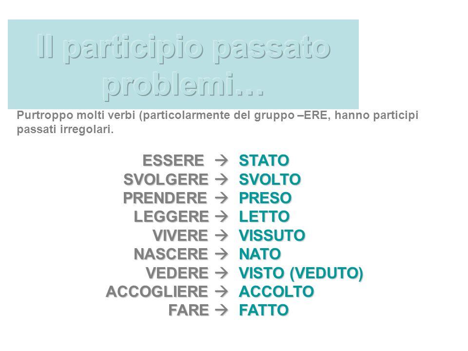 Purtroppo molti verbi (particolarmente del gruppo –ERE, hanno participi passati irregolari.