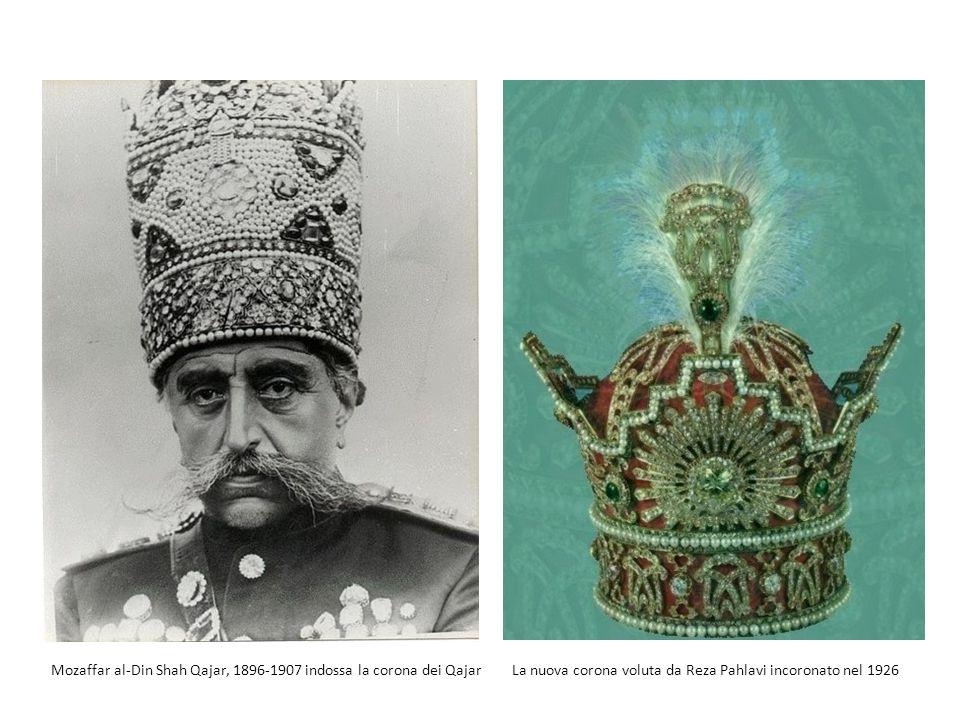 Mozaffar al-Din Shah Qajar, 1896-1907 indossa la corona dei QajarLa nuova corona voluta da Reza Pahlavi incoronato nel 1926