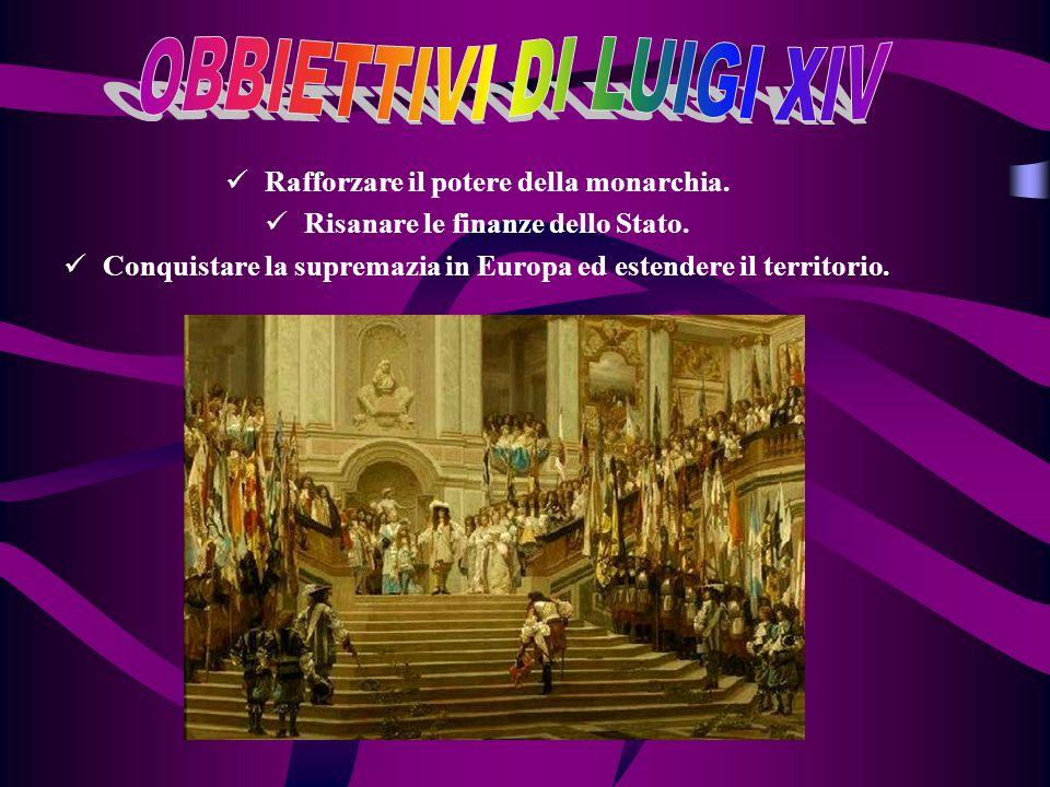 Rafforzare il potere della monarchia. Risanare le finanze dello Stato. Conquistare la supremazia in Europa ed estendere il territorio.