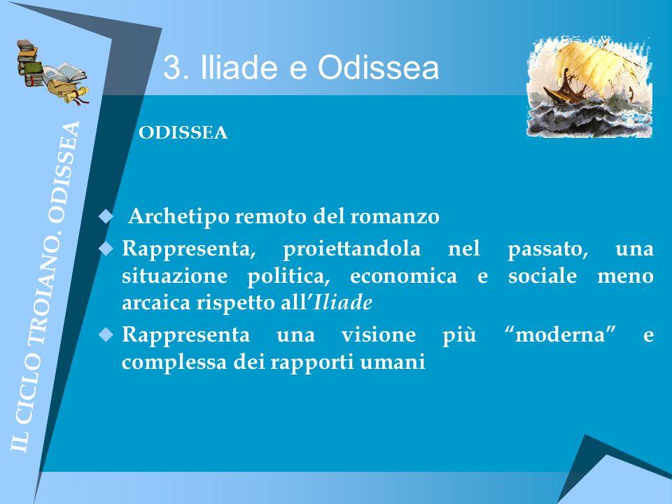 3. Iliade e Odissea ODISSEA Archetipo remoto del romanzo Rappresenta, proiettandola nel passato, una situazione politica, economica e sociale meno arc
