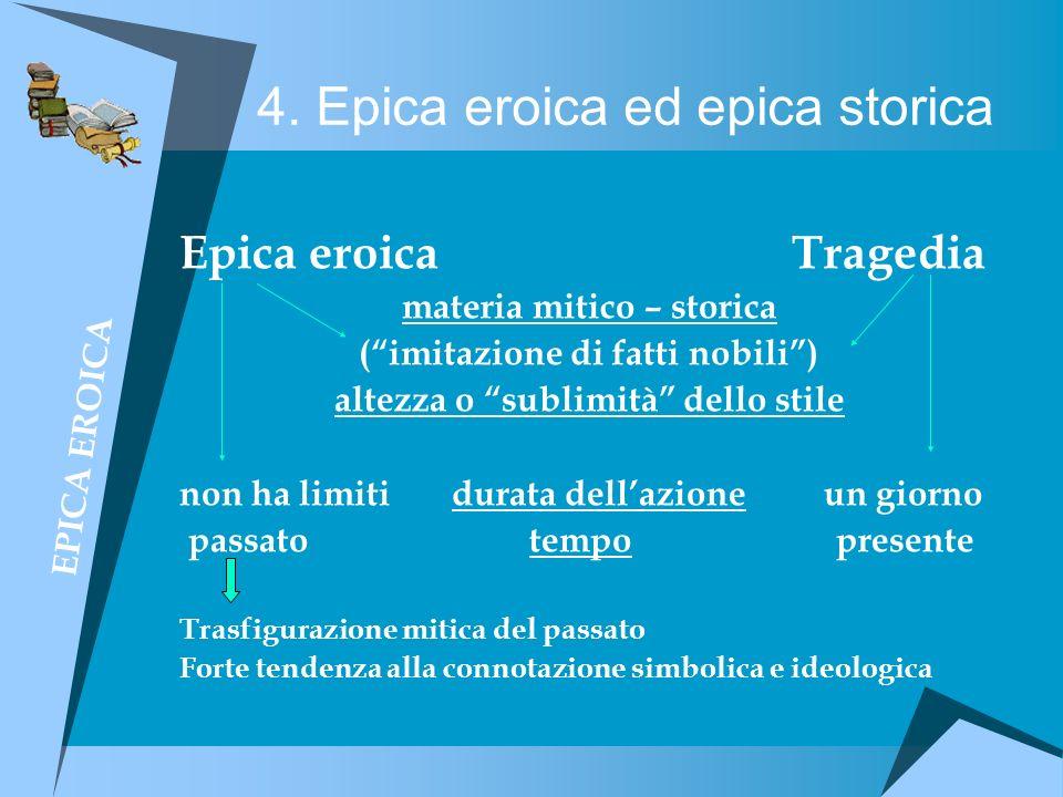 4. Epica eroica ed epica storica Epica eroica Tragedia materia mitico – storica (imitazione di fatti nobili) altezza o sublimità dello stile non ha li