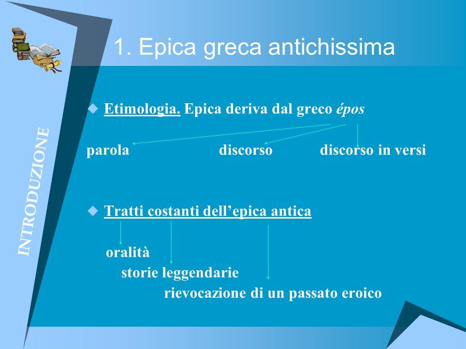 1. Epica greca antichissima Etimologia. Epica deriva dal greco épos parola discorso discorso in versi Tratti costanti dellepica antica oralità storie