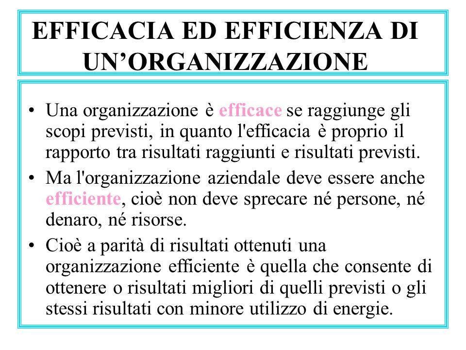 EFFICACIA ED EFFICIENZA DI UNORGANIZZAZIONE Una organizzazione è efficace se raggiunge gli scopi previsti, in quanto l'efficacia è proprio il rapporto
