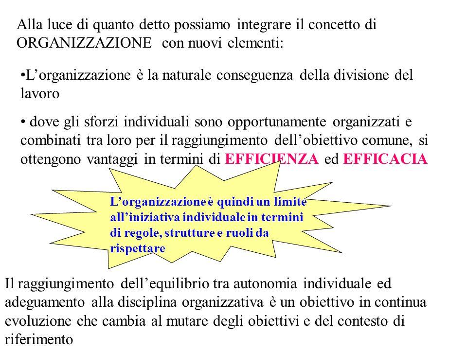 Alla luce di quanto detto possiamo integrare il concetto di ORGANIZZAZIONE con nuovi elementi: Lorganizzazione è la naturale conseguenza della divisio