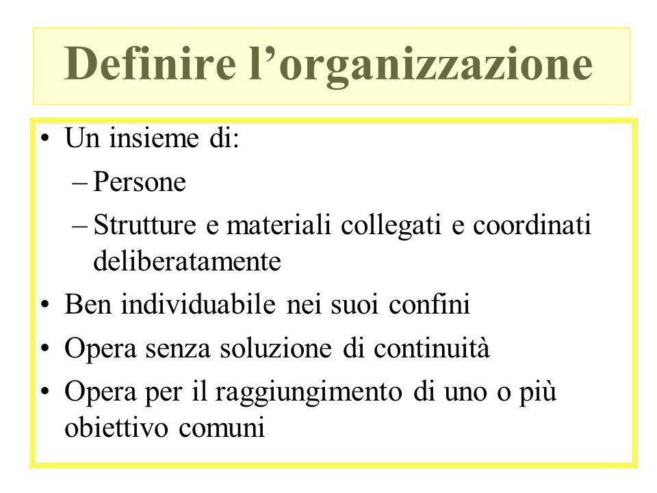 Definire lorganizzazione Un insieme di: –Persone –Strutture e materiali collegati e coordinati deliberatamente Ben individuabile nei suoi confini Oper