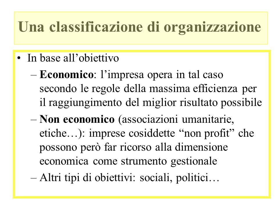 Una classificazione di organizzazione In base allobiettivo –Economico: limpresa opera in tal caso secondo le regole della massima efficienza per il ra