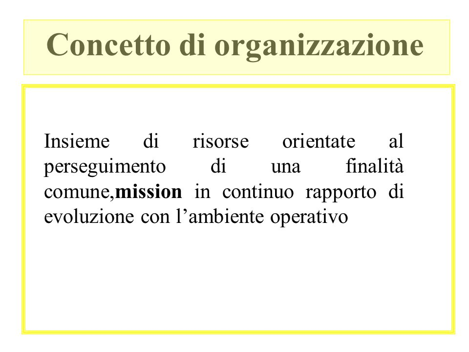 Concetto di organizzazione Insieme di risorse orientate al perseguimento di una finalità comune,mission in continuo rapporto di evoluzione con lambien