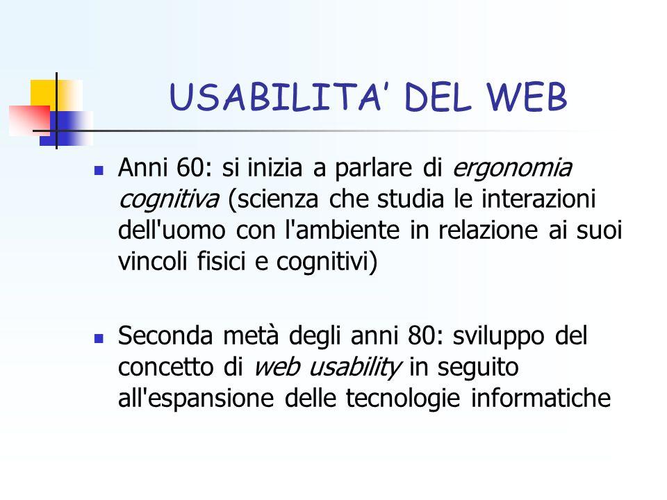 USABILITA DEL WEB Anni 60: si inizia a parlare di ergonomia cognitiva (scienza che studia le interazioni dell'uomo con l'ambiente in relazione ai suoi