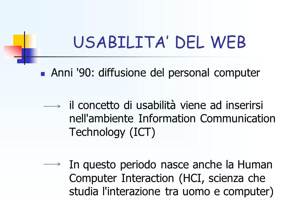 USABILITA DEL WEB Anni '90: diffusione del personal computer il concetto di usabilità viene ad inserirsi nell'ambiente Information Communication Techn