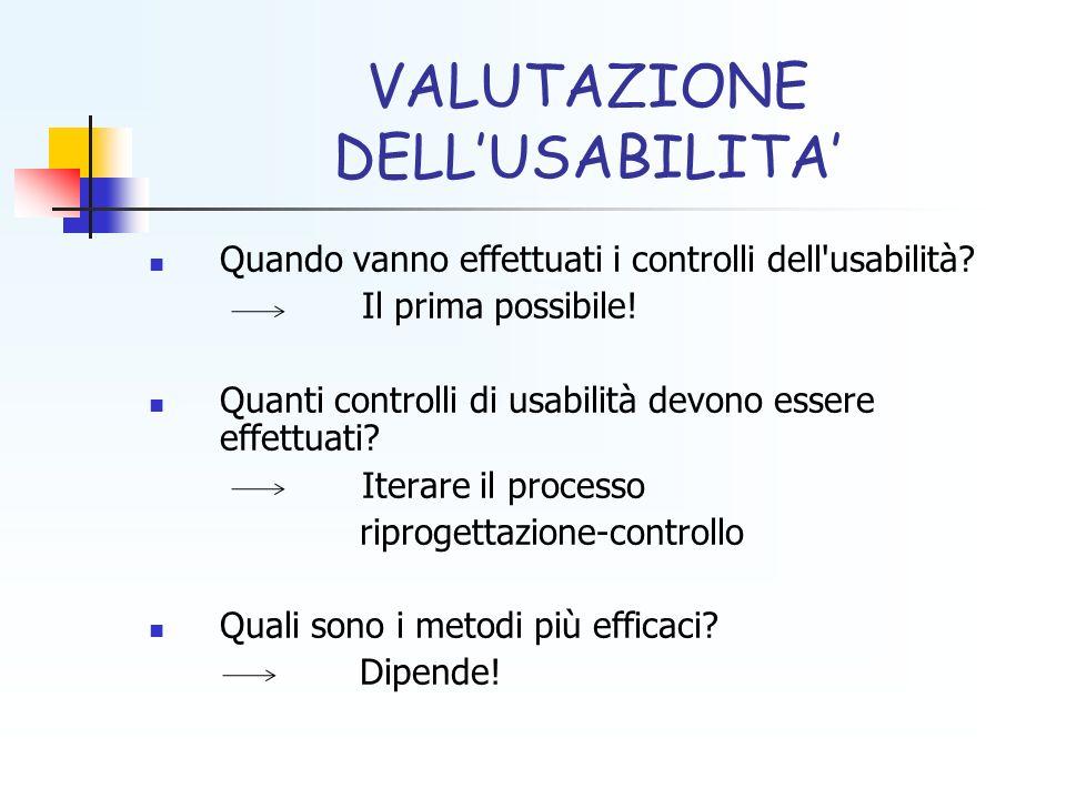 VALUTAZIONE DELLUSABILITA Quando vanno effettuati i controlli dell'usabilità? Il prima possibile! Quanti controlli di usabilità devono essere effettua