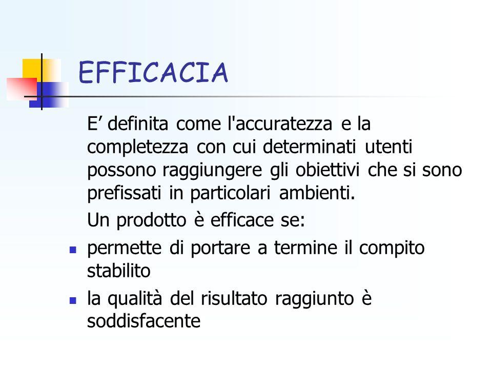 EFFICACIA E definita come l'accuratezza e la completezza con cui determinati utenti possono raggiungere gli obiettivi che si sono prefissati in partic