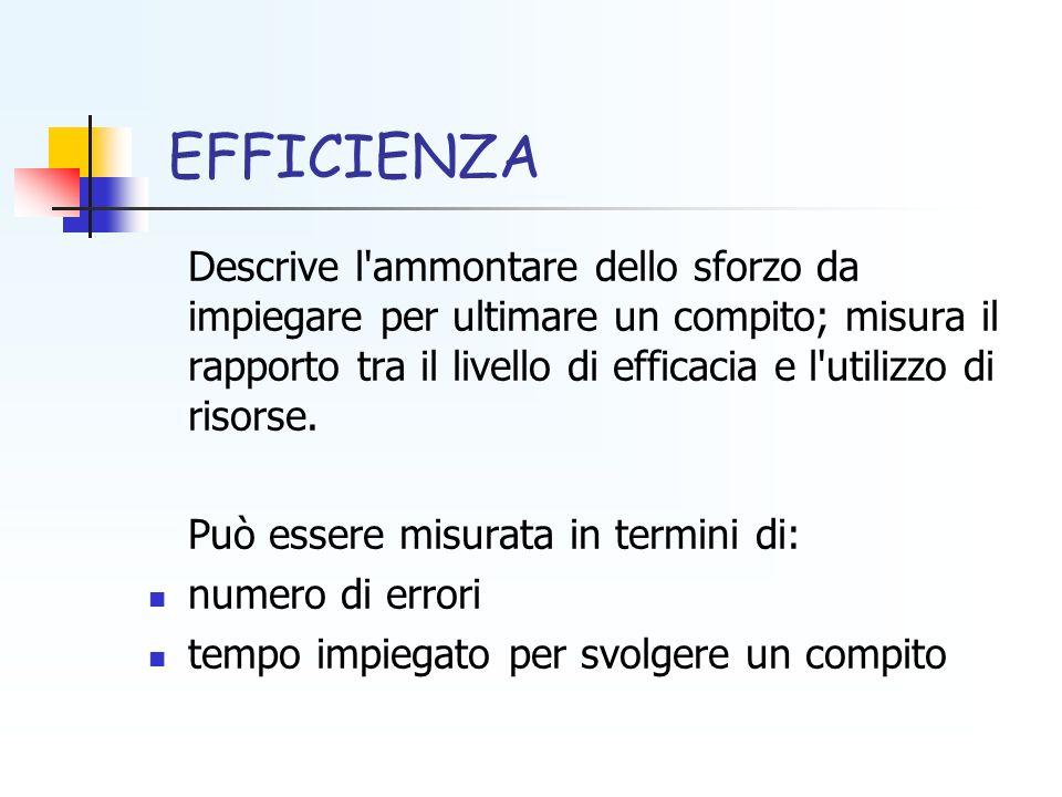 EFFICIENZA Descrive l'ammontare dello sforzo da impiegare per ultimare un compito; misura il rapporto tra il livello di efficacia e l'utilizzo di riso