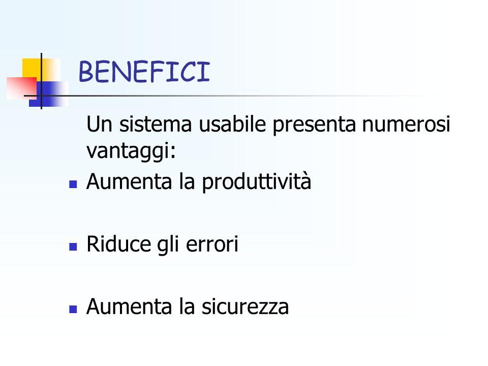 BENEFICI Un sistema usabile presenta numerosi vantaggi: Aumenta la produttività Riduce gli errori Aumenta la sicurezza